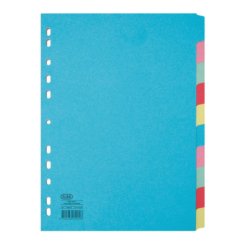 Elba A4 Plain Tab, Assorted Colours 10 Part Index Dividers 160gsm - BX05000